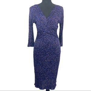 Christian Dior Purple Speckled V Cut Dress 8